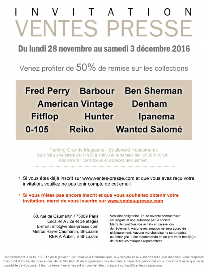Invitation Ventes Presse